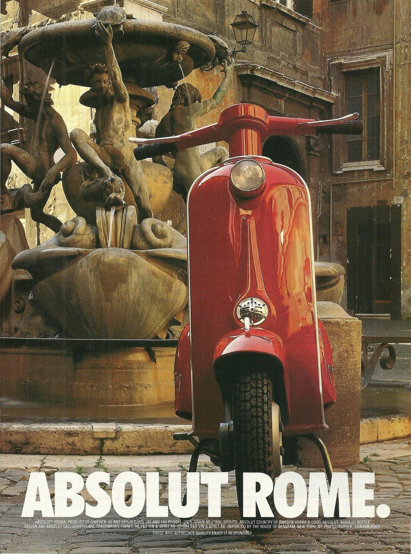 ABSOLUT ROME Vodka Magazine Ad w/ Sidebar Ad