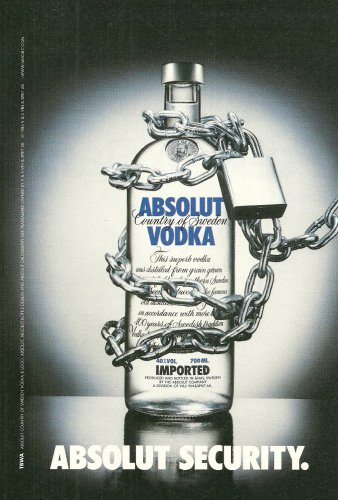 ABSOLUT SECURITY Small Size British Vodka Magazine Ad