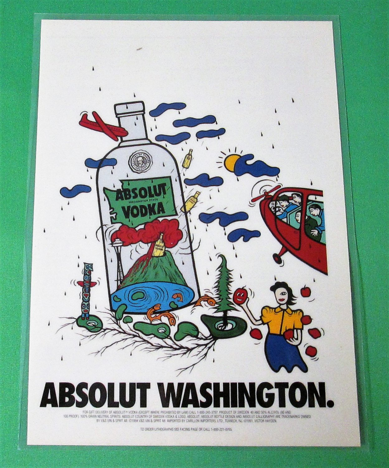 ABSOLUT WASHINGTON Statehood Series LAMINATED Vodka Magazine Ad RARE!