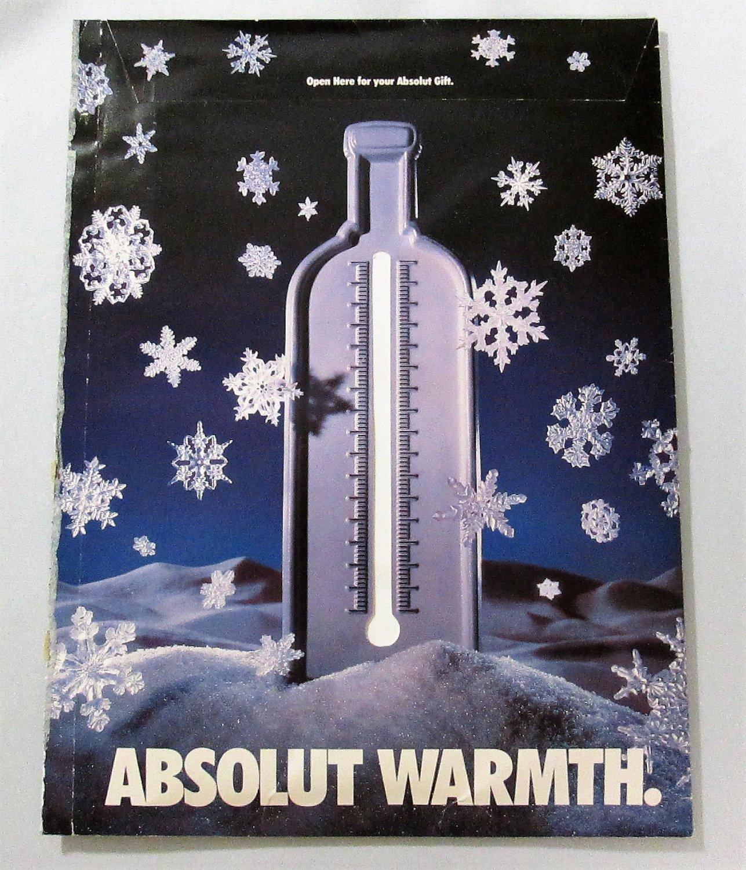 ABSOLUT WARMTH Spectacular Vodka Magazine Ad Gloves Designed by DKNY Donna Karan