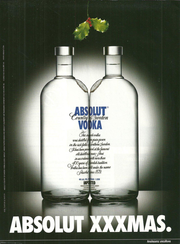 ABSOLUT XXXMAS Greek Vodka Magazine Ad RARE!