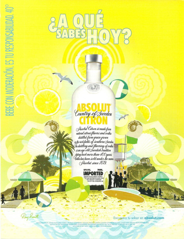 ¿A QU� SABES HOY? Absolut Citron Vodka Magazine Ad SPANISH TEXT