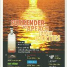 SURRENDER TO APEACH SUNSET PARTIES Australian Vodka Magazine Event Schedule Ad RARE!
