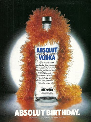ABSOLUT BIRTHDAY Italian Vodka Magazine Ad HARD TO FIND!