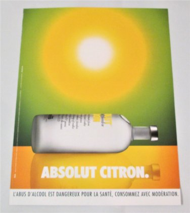 ABSOLUT CITRON (Sunbathing Bottle Version) French Vodka Magazine Ad RARE!