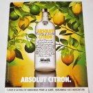 ABSOLUT CITRON (Lemon Tree Version) French Vodka Magazine Ad RARE!