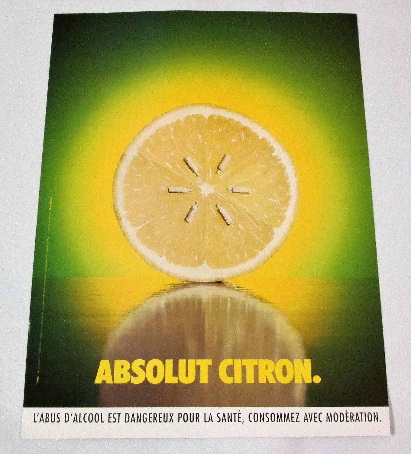 ABSOLUT CITRON (Seeds Version) French Vodka Magazine Ad RARE!