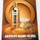 ABSOLUT BLING-BLING French Vodka Magazine Ad RARE!