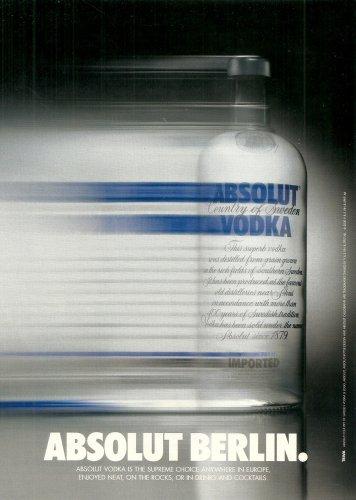 ABSOLUT BERLIN (Fast-Paced City Version) German Vodka Magazine Ad RARE!
