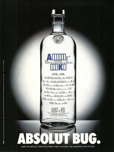 ABSOLUT BUG British Vodka Magazine Ad HARD TO FIND!