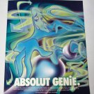 ABSOLUT GENIE Vodka Magazine Ad w/ Artwork by Javier Michalski 1996 - RARE!