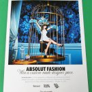 ABSOLUT FASHION Vodka Magazine Ad From New Zealand Featuring Zooey Deschanel