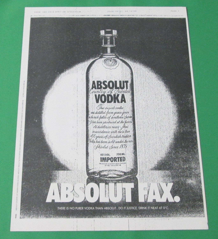 ABSOLUT FAX British Vodka Magazine Ad RARE!
