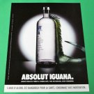 ABSOLUT IGUANA French Vodka Magazine Ad NOT TOO COMMON!