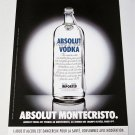 ABSOLUT MONTECRISTO French Vodka Magazine Ad NOT TOO COMMON!