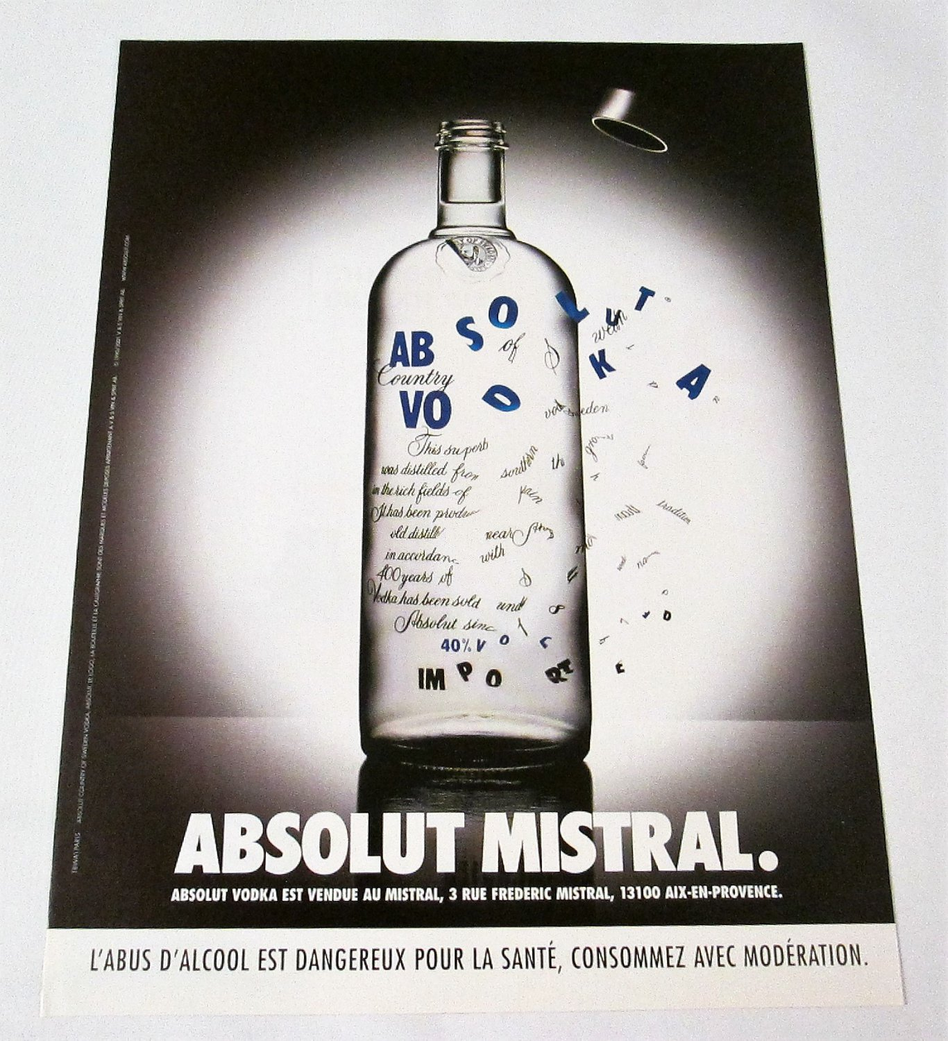 ABSOLUT MISTRAL French Vodka Magazine Ad NOT EASY TO FIND!