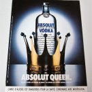 ABSOLUT QUEEN French Vodka Magazine Ad NOT COMMON!