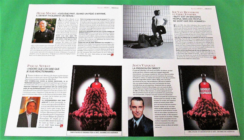 ABSOLUT RASPBERRI Small Size French Vodka Magazine Ads - 2 Pages - RARE!