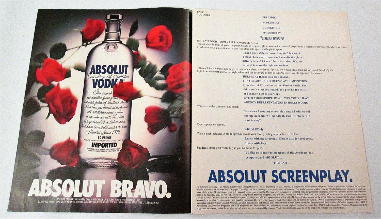 ABSOLUT BRAVO and ABSOLUT SCREENPLAY Vodka Magazine Ads
