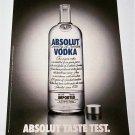 ABSOLUT TASTE TEST German Vodka Magazine Ad