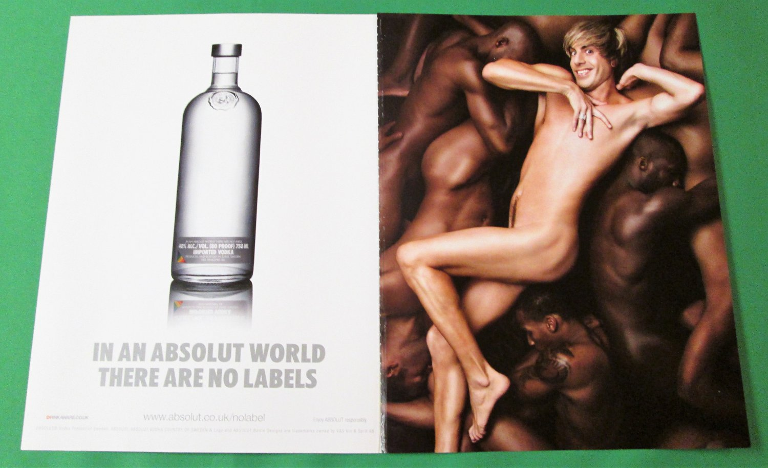IN AN ABSOLUT WORLD THERE ARE NO LABELS British Vodka Magazine Ad w/ BR�NO