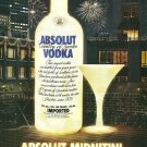 ABSOLUT MIDNITINI Vodka Magazine Ad