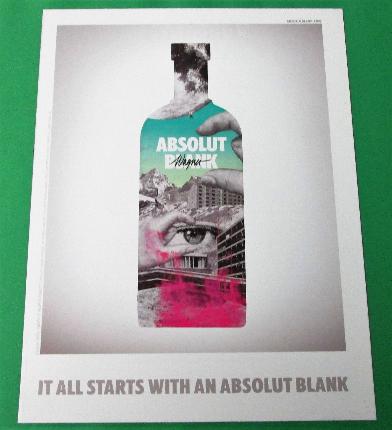 IT ALL STARTS WITH AN ABSOLUT BLANK Italian Vodka Magazine Ad WAGNER VERSION
