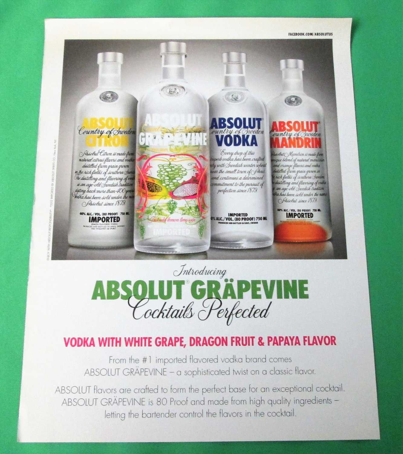 ABSOLUT GRAPEVINE Vodka Magazine Product Launch Ad VERSION 2 - RARE!