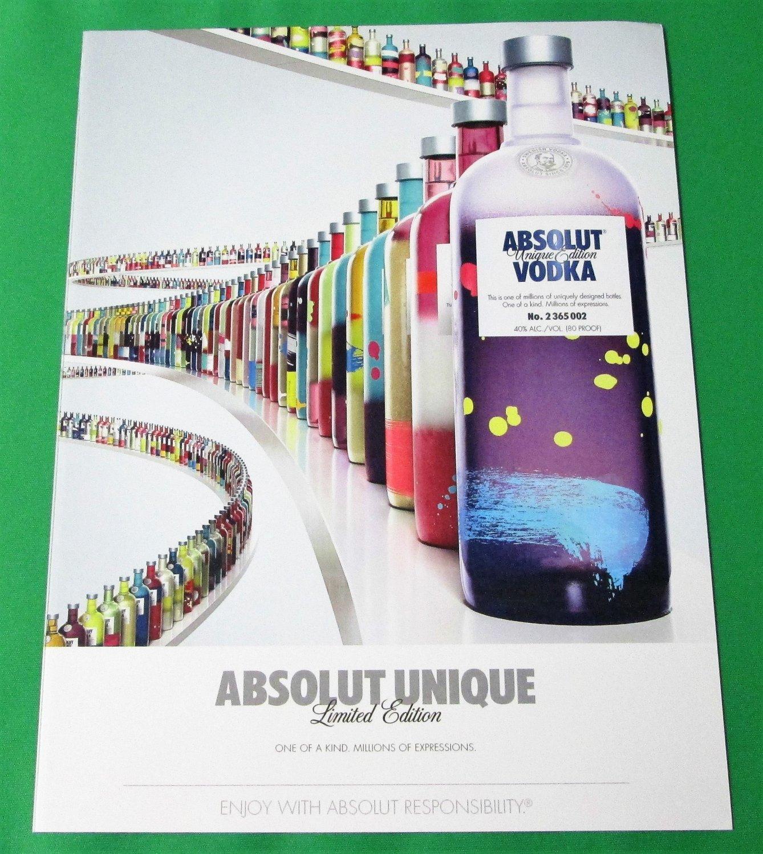 ABSOLUT UNIQUE Vodka Magazine Ad Featuring Limited Edition Bottle RARE!