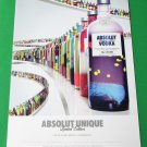 ABSOLUT UNIQUE Vodka Magazine Ad Featuring Limited Edition Bottle RARE!