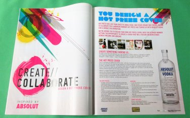 YOU DESIGN A HOT PRESS COVER Absolut Vodka Magazine Ad from Ireland 2pp