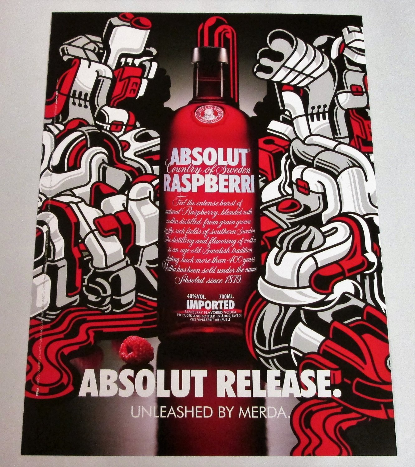 ABSOLUT RELEASE UNLEASHED BY MERDA Australian Vodka Magazine Ad RARE