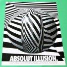ABSOLUT ILLUSION Vodka Magazine Ad - WHITE FONT ON BLACK BACKGROUND