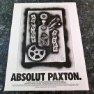 ABSOLUT PAXTON Vodka Magazine Ad (Bill Paxton)