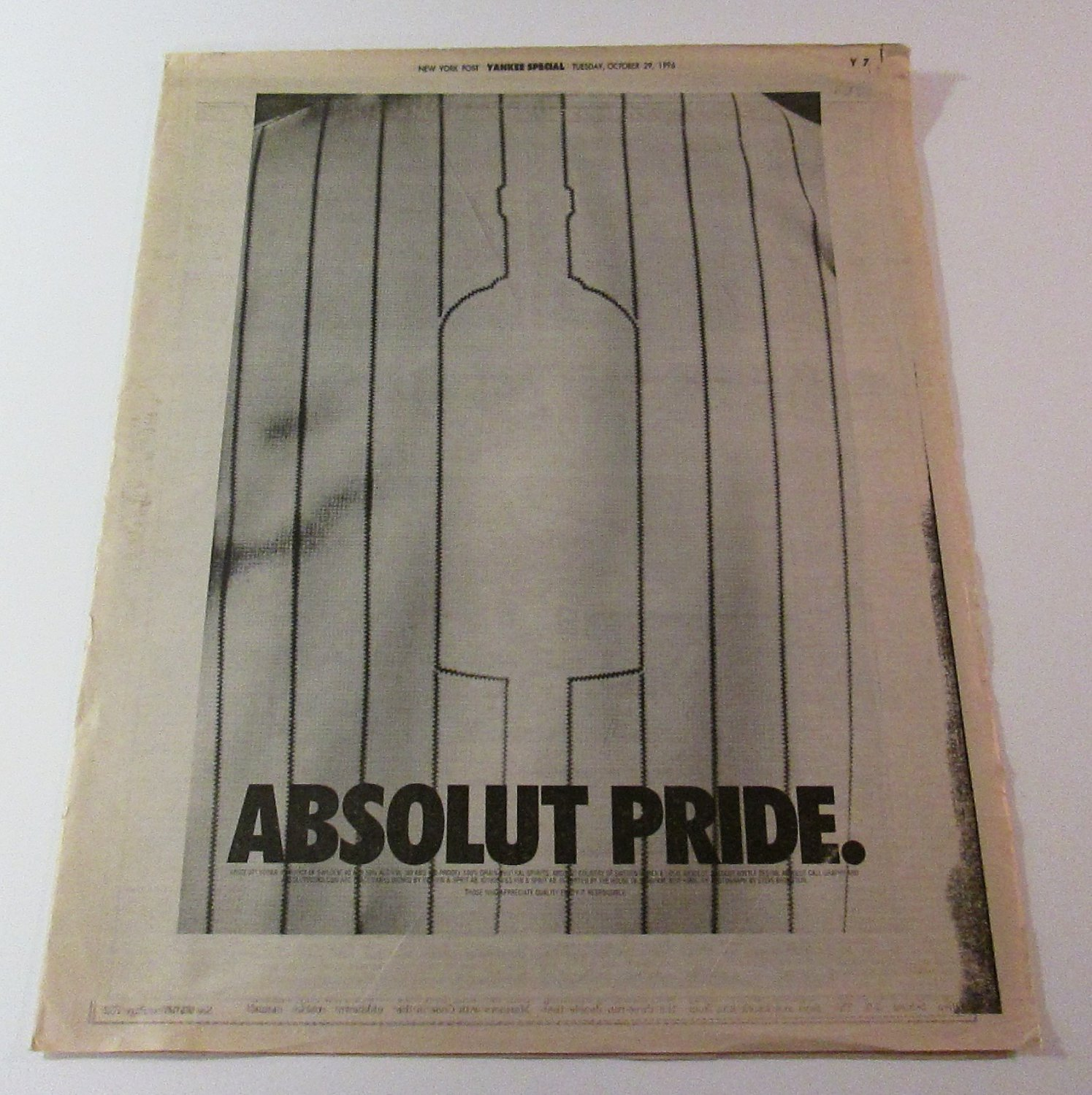 ABSOLUT PRIDE New York Post (October 29, 1996) Full-Page Newspaper Ad