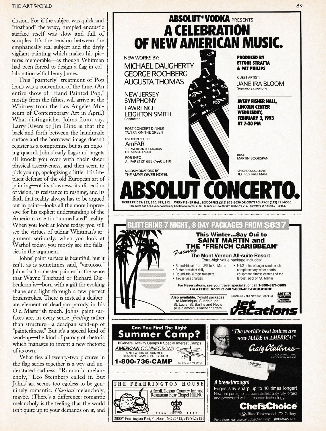 ABSOLUT CONCERTO Vodka Magazine Ad 1/3rd Page Celebration of New American Music