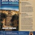 ABSOLUT EXPERIENCE & VINEYARD Martha's Vineyard Itinerary Ad 2002