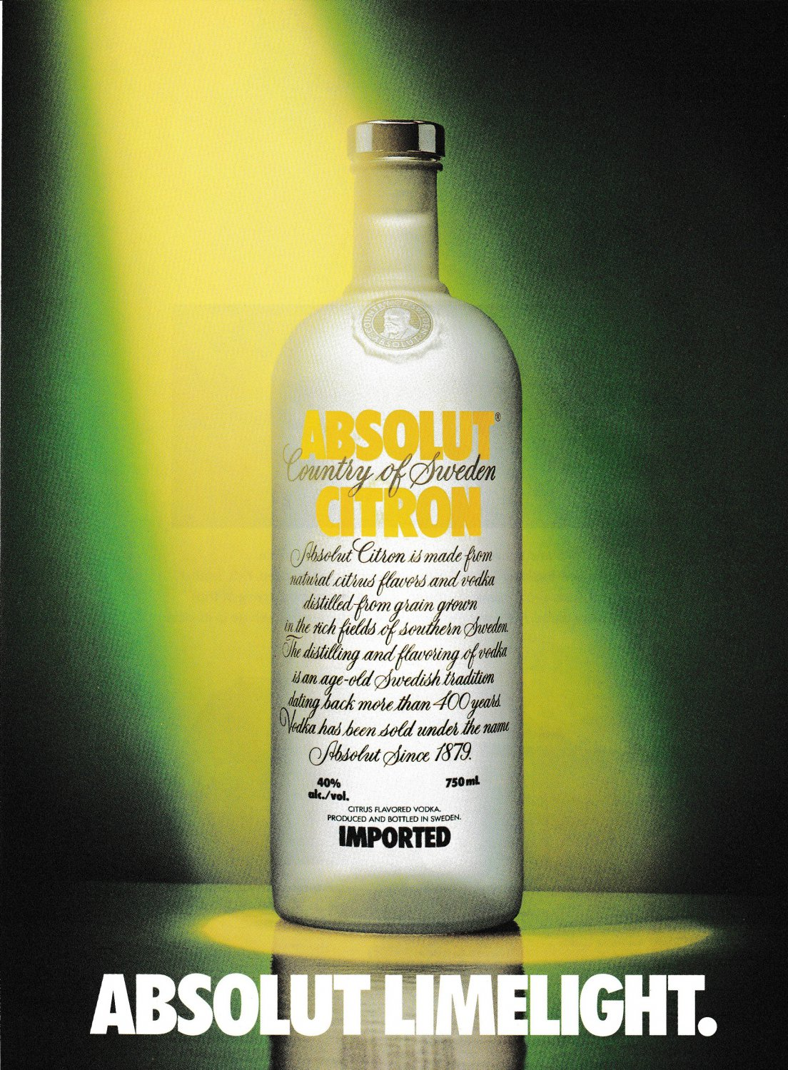 ABSOLUT LIMELIGHT w/ ABSOLUT FACTS Sidebar Canadian Vodka Ads - 2 Pages