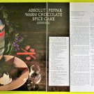 ABSOLUT PEPPAR WARM CHOCOLATE SPICE CAKE Vodka Recipe Magazine Ad - 2 Pages