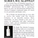 ABSOLUTELY PUSHER Fake Magazine Ad APOLOGY LETTER TO ABSOLUT VODKA