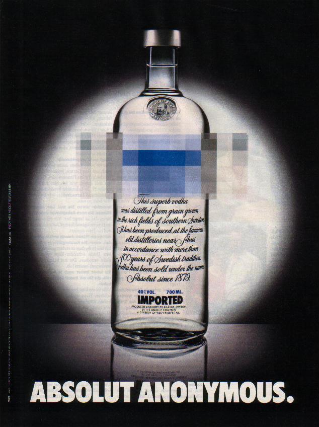 ABSOLUT ANONYMOUS Italian Vodka Magazine Ad