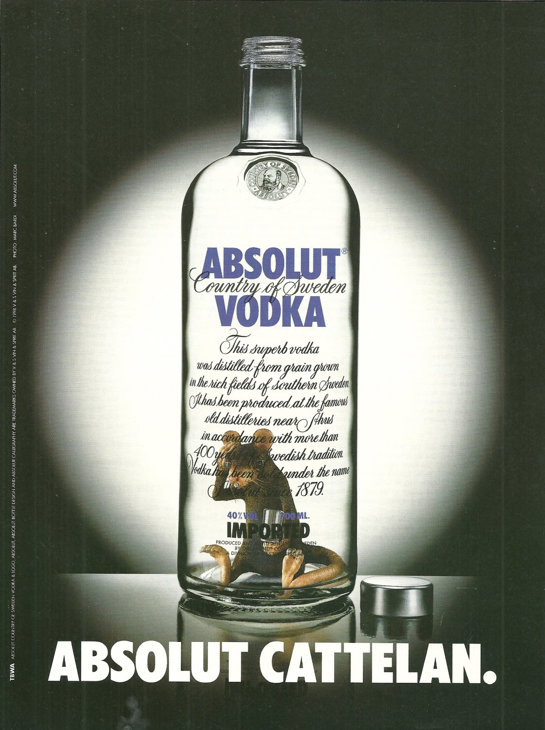 ABSOLUT CATTELAN British Vodka Magazine Ad MAURIZIO CATTELAN