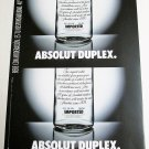 ABSOLUT DUPLEX Spanish Vodka Magazine Ad RARE!