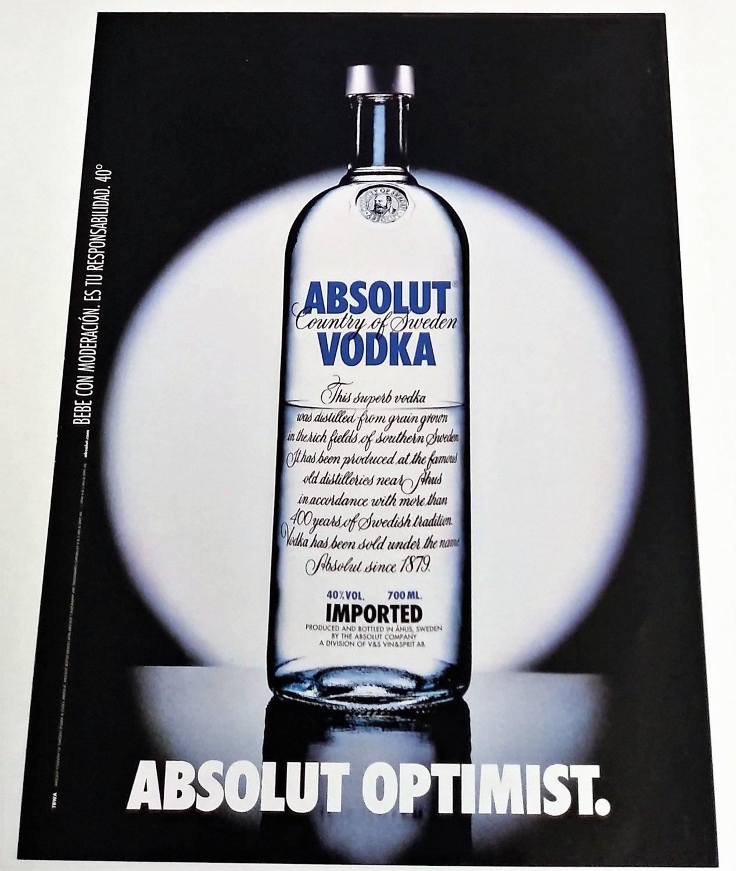 ABSOLUT OPTIMIST Spanish Vodka Magazine Ad