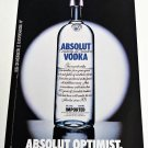 ABSOLUT OPTIMIST Spanish Vodka Magazine Ad