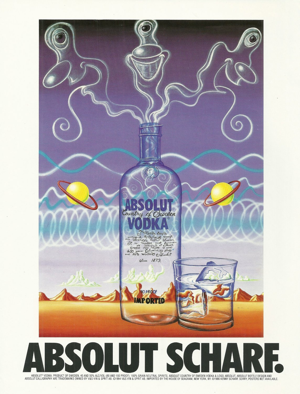 ABSOLUT SCHARF Vodka Magazine Ad by Artist Kenny Scharf
