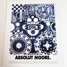 ABSOLUT MOORE Vodka Magazine Ad w/ Artwork by George Moore + ABSOLUT SLICE AD