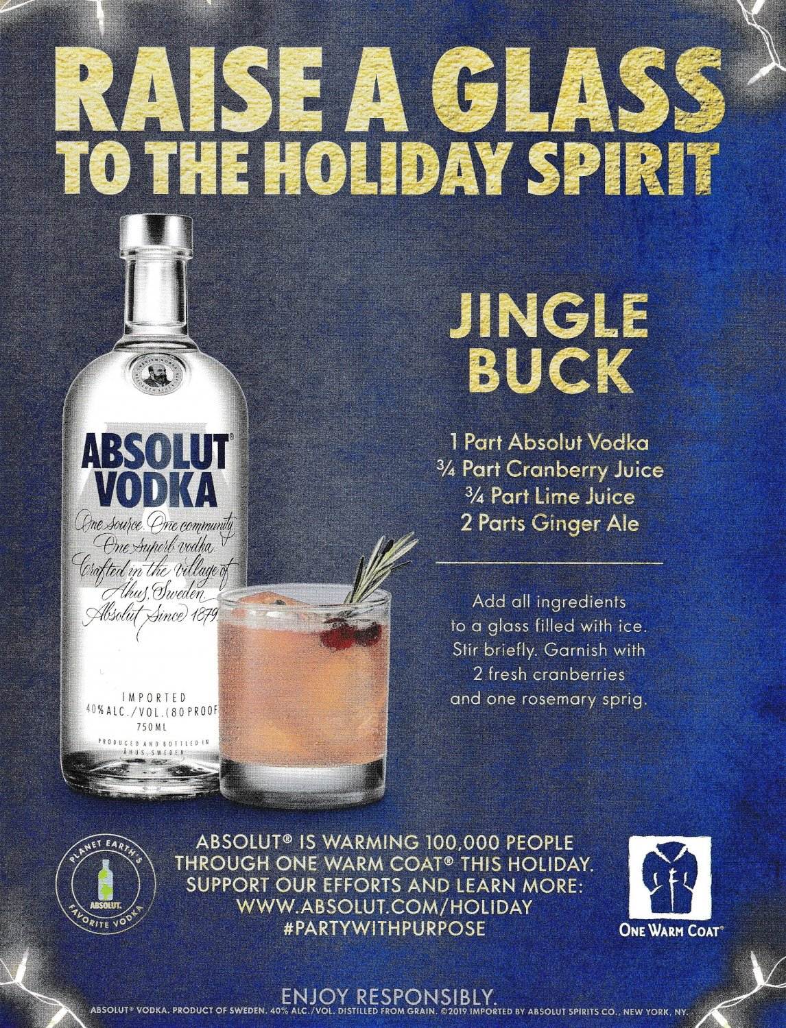 RAISE A GLASS TO THE HOLIDAY SPIRIT Absolut Vodka Magazine Ad w/ Jingle Buck Cocktail Recipe