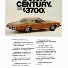 "1973 BUICK CENTURY COLONNADE HARDTOP COUPE Magazine Ad ""Priced Under $3700"""