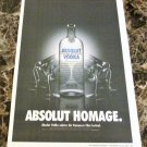 ABSOLUT HOMAGE Large-Size Newspaper Vodka Ad w/ Vancouver Film Festival Caption